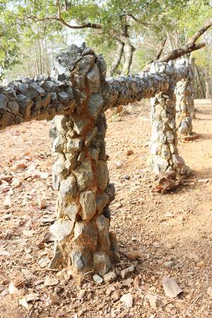 guard rail: guard rail decoration with stone in public garden Stock Photo