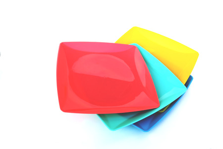 four color plastic plate stacking on white background photo  sc 1 st  123RF.com & Rainbow Colored Plastic Plates On White Background Stock Photo ...