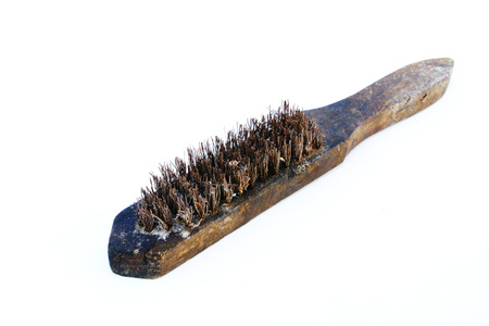 old rust brass brush very dirty on white background