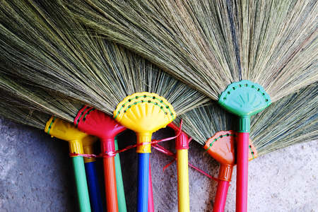 broom handle: plastic handle broom . the product which have many color. Stock Photo
