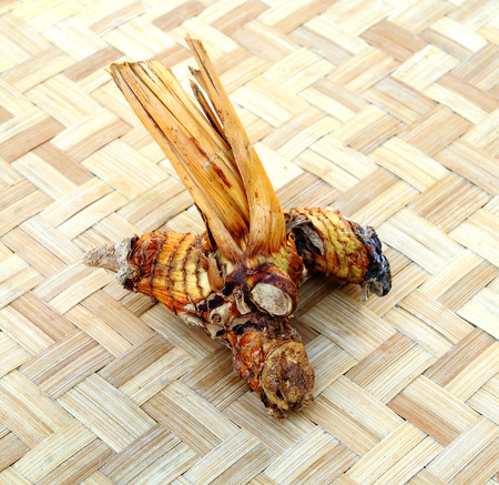 galangal: bulb of dried galangal is on the panier
