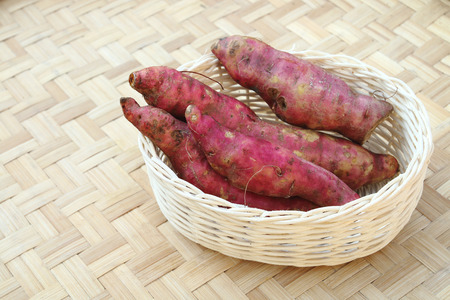 basket: four sweet potatoes are in the basket