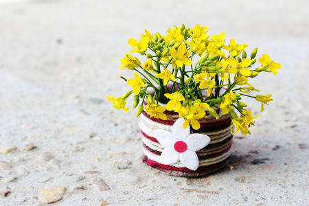 mustard flower are decoration in the wool vase.