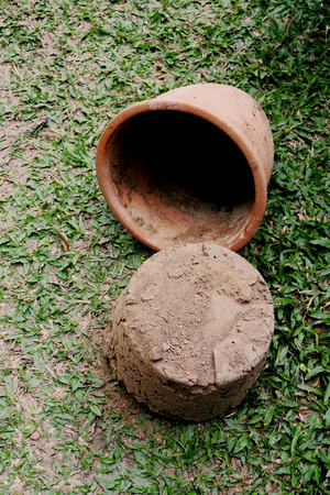dry soil  droping from the old pot