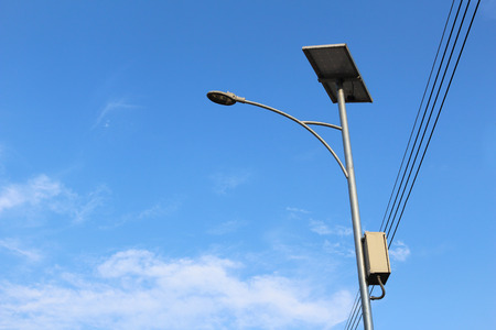 solar cell street lamp in blue sky background