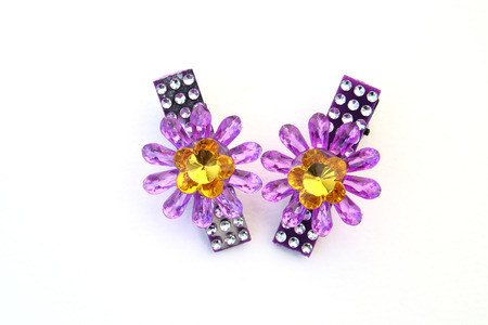 hairpin: Pair of purple plastic  flower hairpin on white backgroud