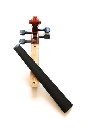 musical instrument parts: the neck and fingerboard of cracked violin