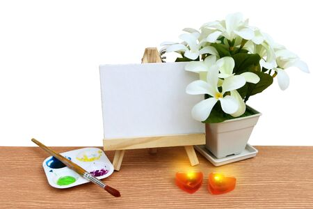 canvas frame ,water color and flower vase ,isolate white background