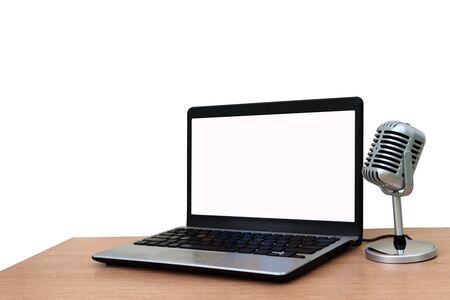 laptop and microphone ,isolate white background