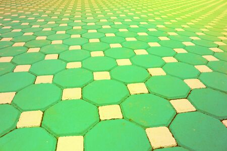 perspective image of surface from pentagon brick floor