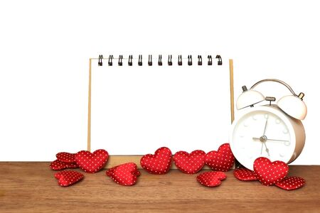 notepad and small heart ,isolated white background and saved clipping path
