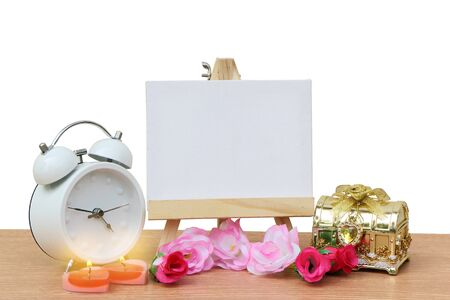 canvas frame ,chest and clock ,isolated white background and saved clipping path