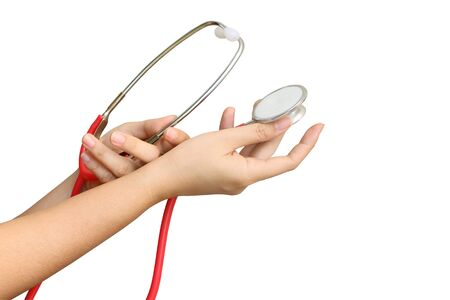 hand holding stethoscope ,isolated white background and saved clipping path Stock Photo