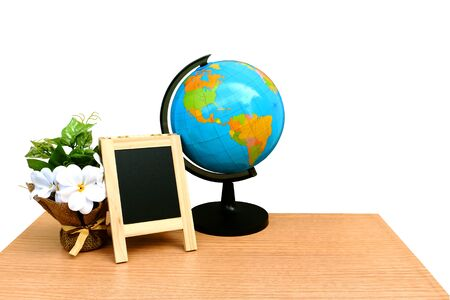 globe and blackboard on desk ,isolated white background and saved clipping path Stock Photo