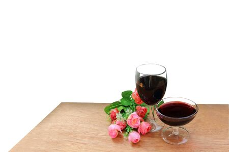 vine glasses and bunch of flower ,isolated white background and saved clipping path