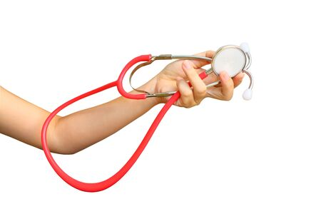 hand holding stethoscope ,isolated white background and saved clipping path 版權商用圖片