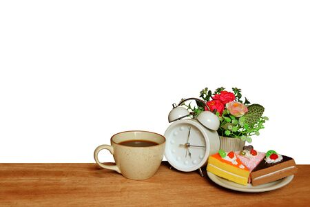 cake ,coffee and clock ,isolated white background and saved clipping path Stock Photo