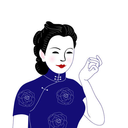 A female vectorial illustration in a cheongsam