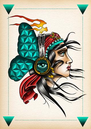gitana: ilustración tatuaje de la mariposa gitana turquesa Foto de archivo