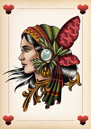Zigeuner vlinder tattoo illustratie