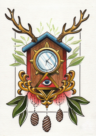 tattoo illustration wall clock Stock Photo