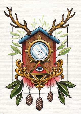 wall clock: tattoo illustration wall clock Stock Photo
