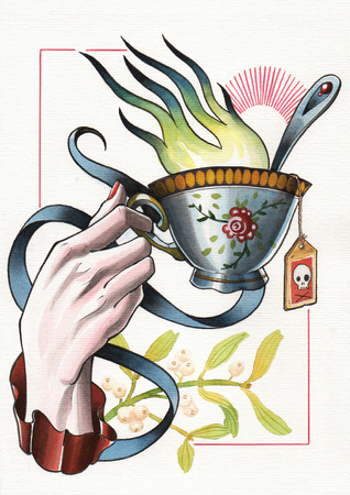 tattoo illustration hand with flamed tea