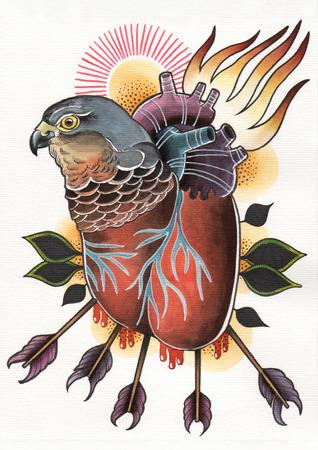 tattoo illustration flamed heart hawk with arrows