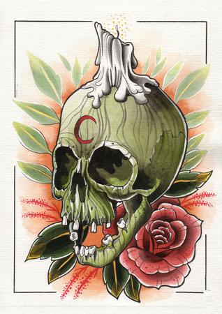 キャンドルやバラのイラスト緑スカルをタトゥーします。