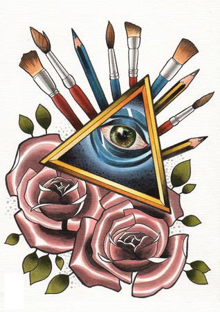 tattoo illustration god is art