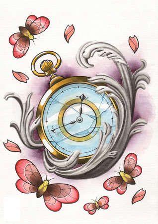 tattoo illustration clock with butterfly