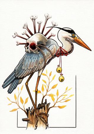 gray: tattoo illustration gray heron