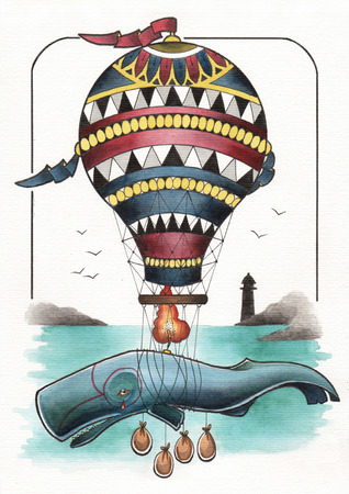 whales: tattoo illustration balloon flying whale