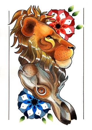 reversible: tattoo illustration reversible
