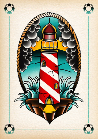 tattoo illustration light house