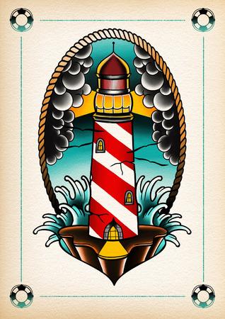 sailors: tattoo illustration light house