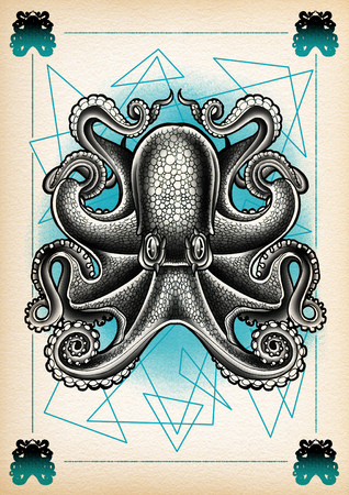 tattoo illustration octopus dot work Stock Photo