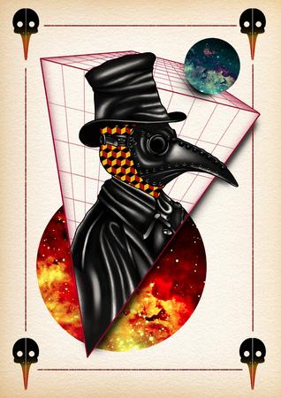 plague: illustration tattoo plague doctor digital watercolor