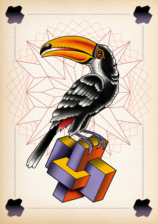polyhedron: illustration toucan with mandalas and polyhedron Stock Photo