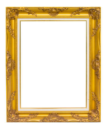 antique golden frame isolated on white background Фото со стока