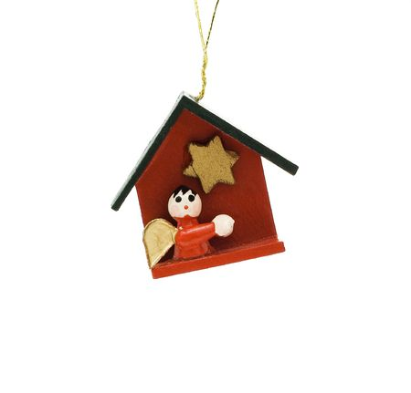 Wooden Christmas decoration witch represents bible themes isolated on white photo