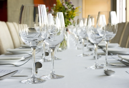 restaurant setting: Banquet table setting in gourmet restaurant Stock Photo