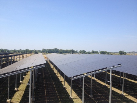 solarcell: Solar Farm Stock Photo