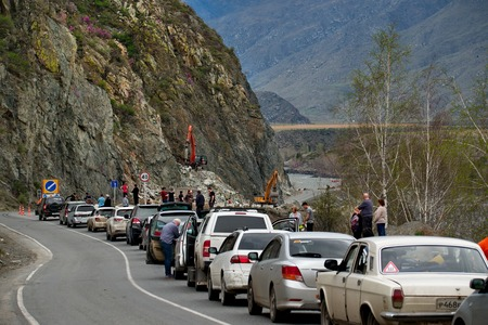 Mountain Altai. Russia. 05012018. The queue of tourists on the roads of the Katun river.
