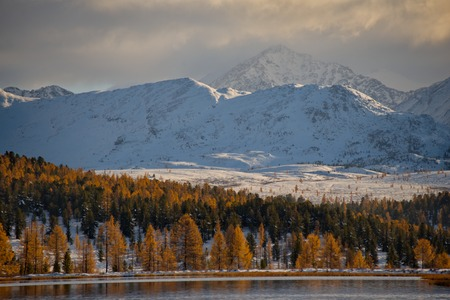 Russia. mountain Altai. Late autumn on the lake Kidelu.