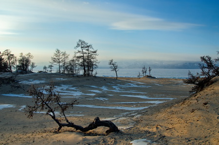 Russia. The Eastern Siberia. Lake Baikal, the sandy shore of the Olkhon Island from the Small sea.