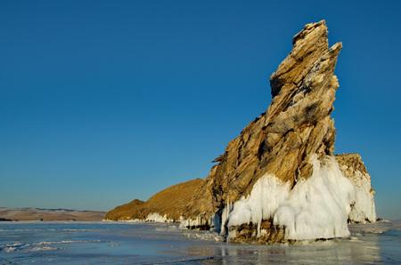 Russia. Eastern Siberia. Amazing fanciful ice flows of lake Baikal.