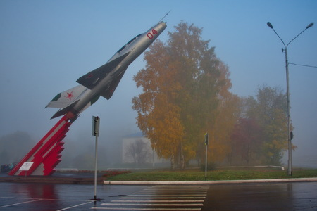 Russia. The airport of Kemerovo. Monument to the MIG-21 fighter aircraft