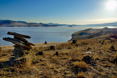Russia. The Lake Baikal. The desert shore of Ogoy island. Stock Photo