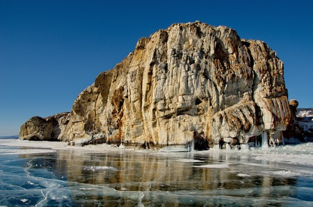 Russia. Eastern Siberia. The unique beauty of the transparent ice of the lake Baikal.